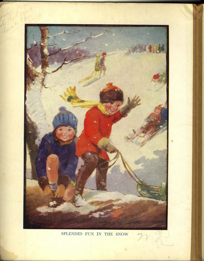 Happy Hours book page - Playing in the snow